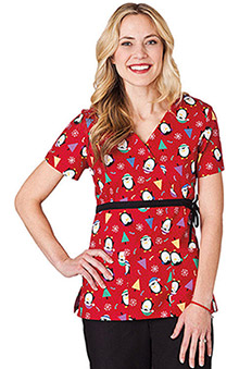 Clearance WS Gear by White Swan Women's Mock Wrap Penguin Print Scrub Top