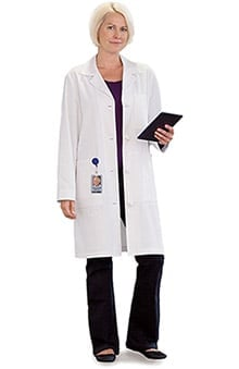 "META Labwear Women's Knot Button 38"" Ipad Lab Coat"