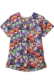 Jockey Scrubs Women's Mock Wrap Heart Print Scrub Top