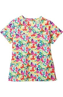 Jockey Scrubs Women's Crossover V-Neck Abstract Print Scrub Top