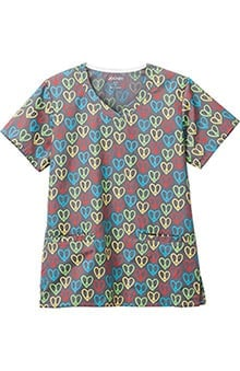 Classic Fit Collecion by Jockey® Scrubs Women's Overlap V-Neck Heart Print Scrub Top