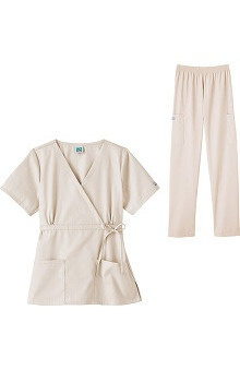Fundamentals by White Swan Women's Mock Wrap Scrub Top with Elastic Waist Pant Set