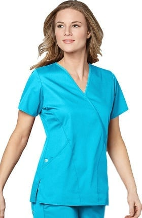 WonderWORK Women's Mock Wrap Solid Scrub Top