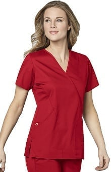 WonderWink WonderWORK Women's Mock Wrap Solid Scrub Top