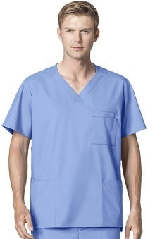 WonderWink WonderWORK Men's Multi Pocket V-Neck Solid Scrub Top