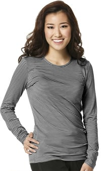 Layers by WonderWink Women's Silky Long Sleeve Stripe Print T-Shirt