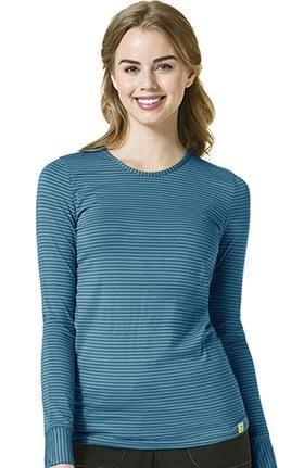 Layers by WonderWink Women's Silky Long Sleeve Stripe Print Underscrub T-Shirt