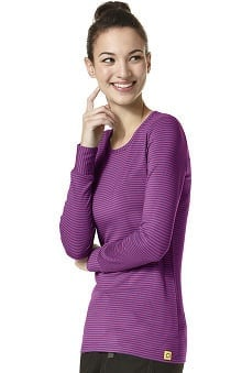 Layers By Wonderwink Women's Silky Long Sleeve Colorful Print T-shirt