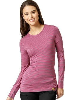 Layers by Wonderwink Women's Silky Long Sleeve Pewter & Hot Pink Striped T-Shirt