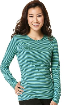 Layers by Wonderwink Women's Silky Long Sleeve Royal & Apple Green Striped T-Shirt