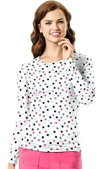 Layers by WonderWink Women's Silky Long Sleeve Dot Print T-Shirt