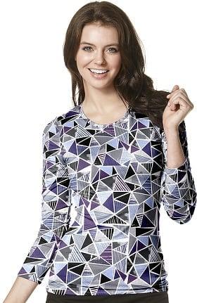 Layers by WonderWink Women's Silky Long Sleeve Geometric Print T-Shirt