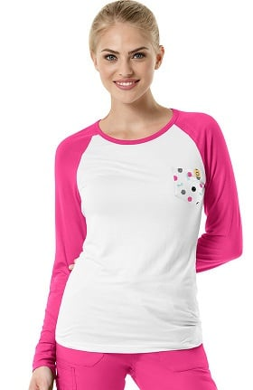 Layers by WonderWink Women's Long Sleeve Dot Print Baseball T-Shirt