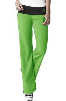 Petite new: Four Stretch by Wonderwink Women's Fold Over Knit Waist Flare Scrub Pant