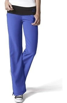 Clearance Four Stretch by WonderWink Women's Fold Over Knit Waist Flare Scrub Pant
