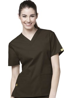 4XL: WonderWink Women's Origins Bravo Lady Fit V-Neck Solid Scrub Top