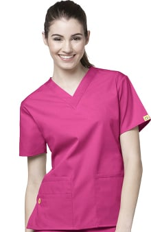 XXS: Origins by WonderWink Women's Bravo Lady Fit V-Neck Solid Scrub Top