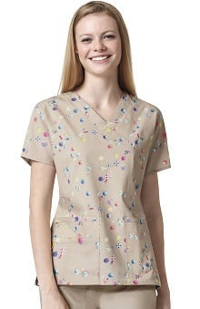 Origins By Wonderwink Women's V-Neck Beach Print Scrub Top