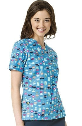 Origins by WonderWink Women's V-Neck Cat Print Scrub Top