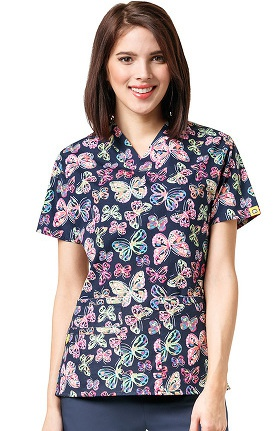 Origins By Wonderwink Women's V-Neck Butterfly Print Scrub Top