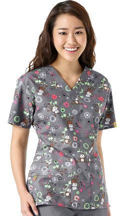Origins By Wonderwink Women's V-Neck Monkey Print Scrub Top