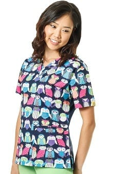 Origins by WonderWink Women's V-Neck Owl Print Scrub Top