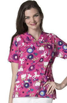 clearance10: Origins by WonderWink Women's V-Neck Scrub Print Scrub Top