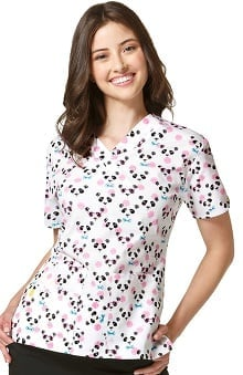 Origins by WonderWink Women's V-Neck Panda Print Scrub Top
