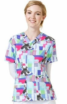 Origins by Wonderwink Women's V-Neck Geometric Print Scrub Top