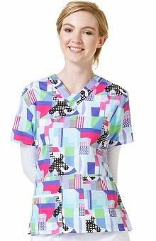 Clearance Origins by Wonderwink Women's V-Neck Geometric Print Scrub Top