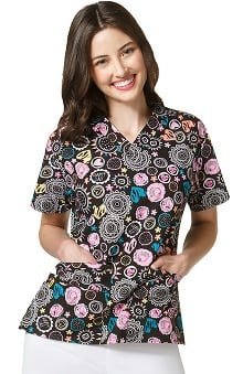 Origins by WonderWink Women's V-Neck Heart Print Scrub Top