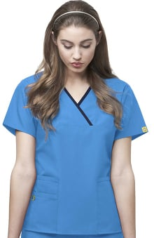 2XL: Origins by WonderWink Women's Charlie Y-Neck Mock Wrap Solid Scrub Top