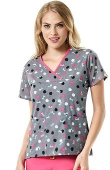 Origins by WonderWink Women's Y-Neck Mock Wrap Dot Print Scrub Top