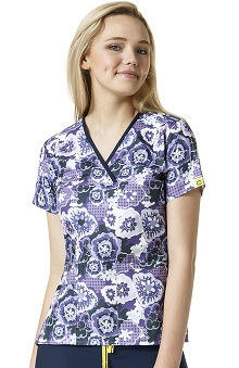 Origins by WonderWink Women's Y-Neck Floral Print Scrub Top