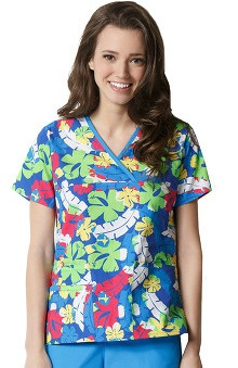 Clearance Origins by WonderWink Women's Y-Neck Mock Wrap Tropical Print Scrub Top