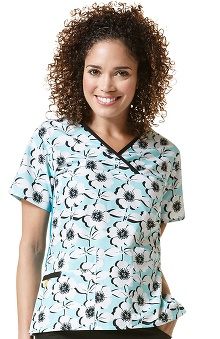 Origins by Wonderwink Women's Y-Neck Mock Wrap Floral Print Scrub Top