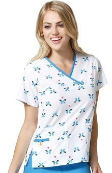 Origins by WonderWink Women's Y-Neck Mock Wrap Butterfly Print Scrub Top