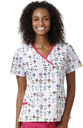 Clearance Origins By WonderWink Women's Y-Neck Mock Wrap Floral Print Scrub Top
