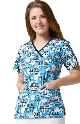 Origins by WonderWink Women's Y-Neck Mock Wrap Panda Print Scrub Top