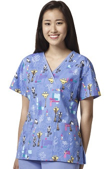 Origins By Wonderwink Women's Y-Neck Mock Wrap Giraffe Print Scrub Top