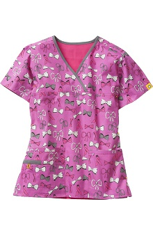 WonderWink Women's Y-Neck Mock Wrap Pink Ribbon Print Scrub Top