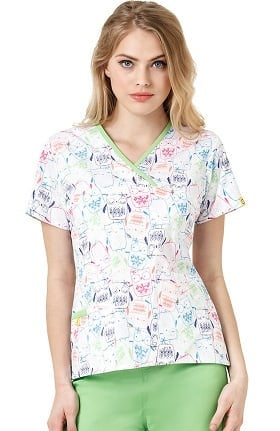 Origins By Wonderwink Women's Y-Neck Mock Wrap Owl Print Scrub Top