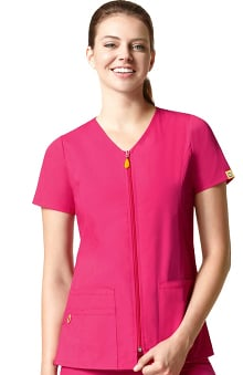 Clearance Origins by Origins by Wonderwink Women's Kilo Zip Front Solid Scrub Top