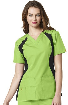 Clearance Origins By Wonderwink Women's Lima Knit Panel Solid Scrub Top