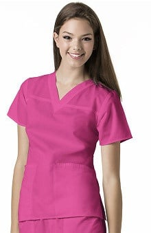 Clearance Mink by WonderWink Women's Fashion V-Neck Solid Scrub Top