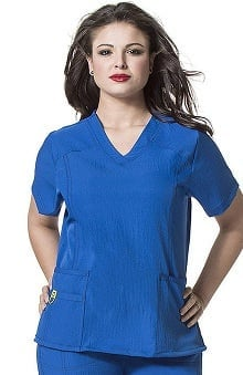 Plus by WonderWink Women's Curved V-Neck Solid Scrub Top