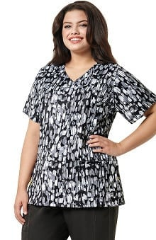 Plus By Wonderwink Women's Curved V-Neck Abstract Print Scrub Top