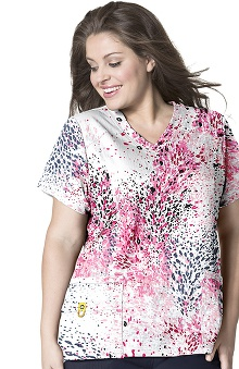 Plus by WonderWink Women's Curved V-Neck Pink Panther Print Scrub Top