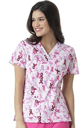WonderFLEX by WonderWink Women's V-Neck Breast Cancer Awareness Print Scrub Top