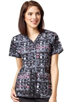 Wonderflex By Wonderwink Women's V-Neck Abstract Print Scrub Top